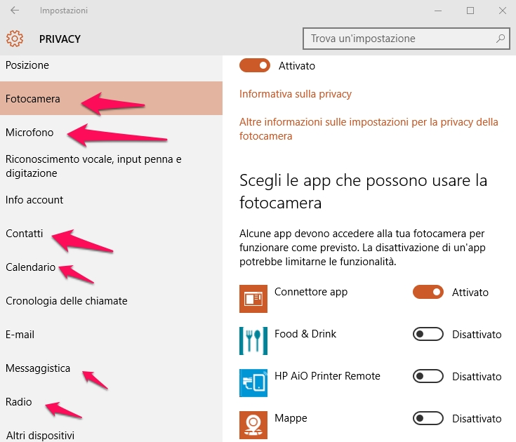 privacy windows 10 fotocamera-messaggistica-radio