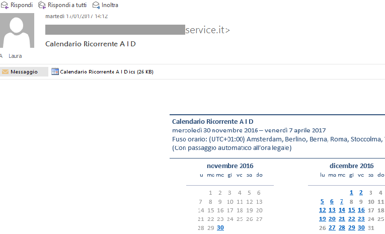 anteprima calendario di outlook
