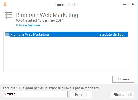 promemoria evento calendario di outlook