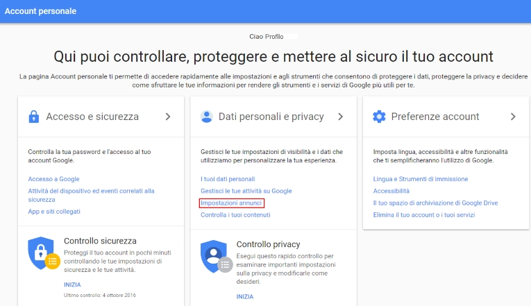 Aumentare la sicurezza del tuo account